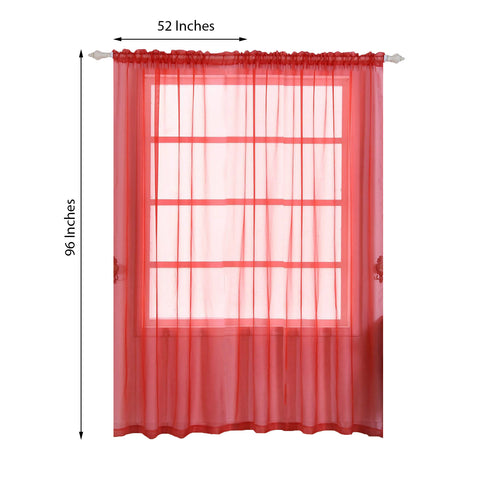 "Pack of 2 - 52""x96"" Red Sheer Organza Curtains With Rod Pocket Window Treatment Panels"