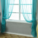 "52""x 96"" Turquoise Pack of 2 Sheer Organza with Rod Pocket Window Treatment Curtain Panels"