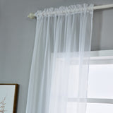 "52""x 96"" White Pack of 2 Sheer Organza with Rod Pocket Window Treatment Curtain Panels"