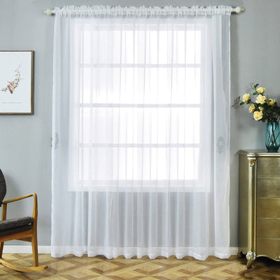 "2 Pack | 52""x96"" White Sheer Organza Curtains With Rod Pocket Window Treatment Panels"