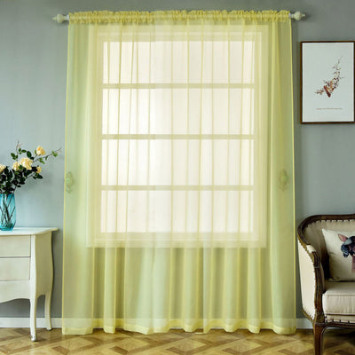 "2 Pack | 52""x96"" Yellow Sheer Organza Curtains With Rod Pocket Window Treatment Panels"