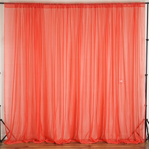 Pack of 2 | 5FTx10FT Coral Fire Retardant Sheer Organza Premium Curtain Panel Backdrops With Rod Pockets
