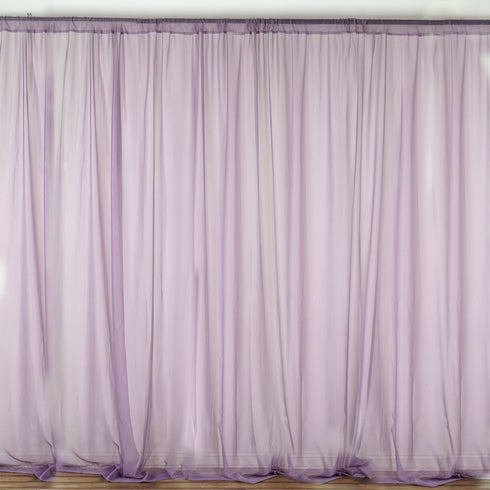 Pack of 2 | 5FTx10FT Amethyst Voilet Fire Retardant Sheer Organza Premium Curtain Panel Backdrops With Rod Pockets