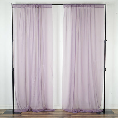 2 Pack | 5FTx10FT Amethyst Voilet Fire Retardant Sheer Organza Premium Curtain Panel Backdrops With Rod Pockets