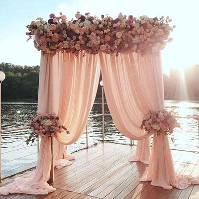 2 Pack | 5FTx10FT Dusty Rose Fire Retardant Sheer Organza Premium Curtain Panel Backdrops With Rod Pockets