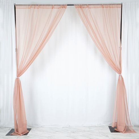 Pack of 2 | 5FTx10FT Dusty Rose Fire Retardant Sheer Organza Premium Curtain Panel Backdrops With Rod Pockets