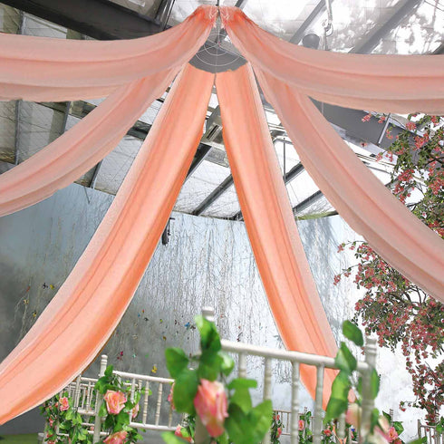 "30Ft Blush Ceiling Drapes Sheer Curtain Panels Fire Retardant Fabric With 4"" Pocket"