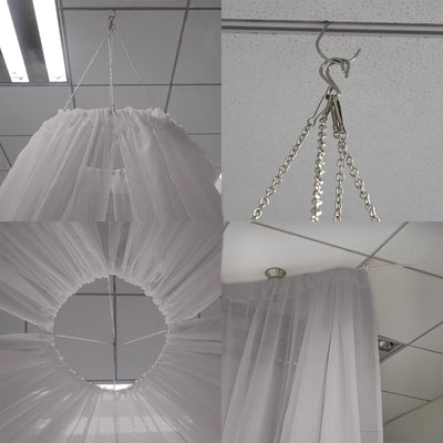 "30Ft Silver Ceiling Drapes Sheer Curtain Panels Fire Retardant Fabric With 4"" Pocket"