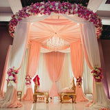 "40Ft Blush Ceiling Drapes Sheer Curtain Panels Fire Retardant Fabric With 4"" Pocket"