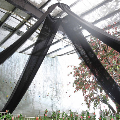 40Ft Black Ceiling Drapes Sheer Curtain Panels Fire Retardant Fabric With  4