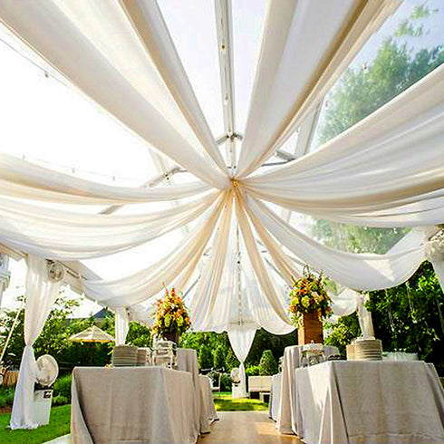 "40Ft White Ceiling Drapes Sheer Curtain Panels Fire Retardant Fabric With 4"" Pocket"