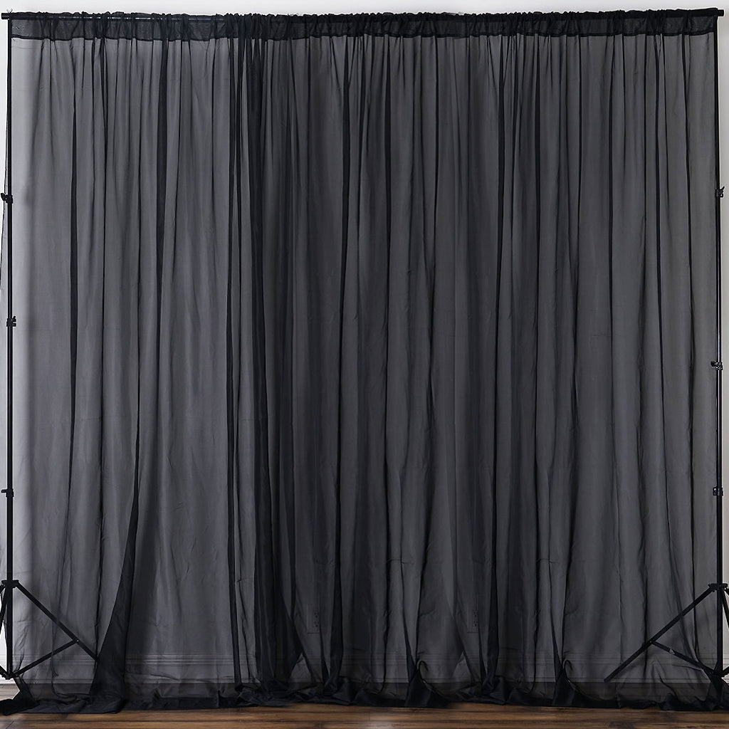 e2fb9b173 10FT Fire Retardant Black Sheer Curtain Panel Backdrops With Rod Pockets -  Premium Collection