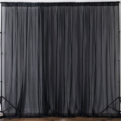 Pack of 2 | 5FTx10FT Black Fire Retardant Sheer Organza Premium Curtain Panel Backdrops With Rod Pockets