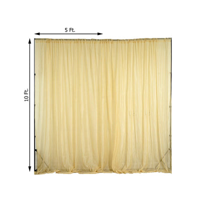 2 Pack | 5FTx10FT Champagne Fire Retardant Sheer Organza Premium Curtain Panel Backdrops With Rod Pockets