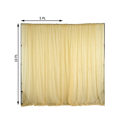 Pack of 2 | 5FTx10FT Champagne Fire Retardant Sheer Organza Premium Curtain Panel Backdrops With Rod Pockets