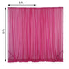 2 Pack | 5FTx10FT Fushia Fire Retardant Sheer Organza Premium Curtain Panel Backdrops With Rod Pockets