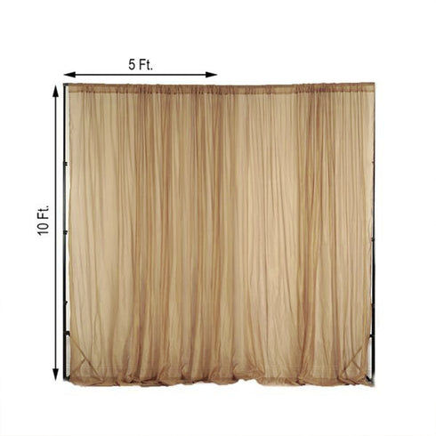 2 Pack | 5FTx10FT Gold Fire Retardant Sheer Organza Premium Curtain Panel Backdrops With Rod Pockets