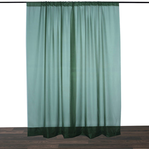 Pack of 2 | 5FTx10FT Hunter Emerald Green Fire Retardant Sheer Organza Premium Curtain Panel Backdrops With Rod Pockets