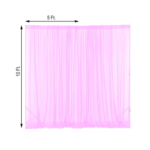 2 Pack | 5FTx10FT Pink Fire Retardant Sheer Organza Premium Curtain Panel Backdrops With Rod Pockets