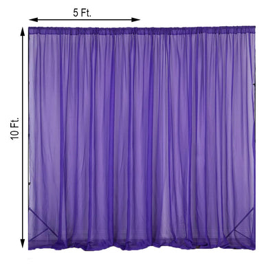 2 Pack | 5FTx10FT Purple Fire Retardant Sheer Organza Premium Curtain Panel Backdrops With Rod Pockets
