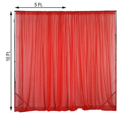 2 Pack | 5FTx10FT Red Fire Retardant Sheer Organza Premium Curtain Panel Backdrops With Rod Pockets