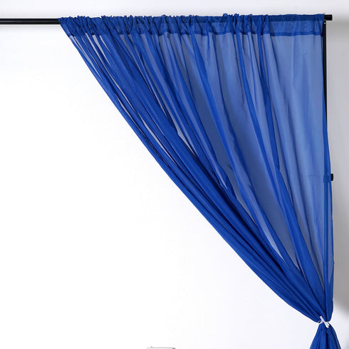 10FT Fire Retardant Royal Blue Sheer Curtain Panel Backdrops With Rod Pockets - Premium Collection