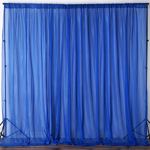 10ft fire retardant royal blue sheer curtain panel backdrops window treatment with rod pockets premium
