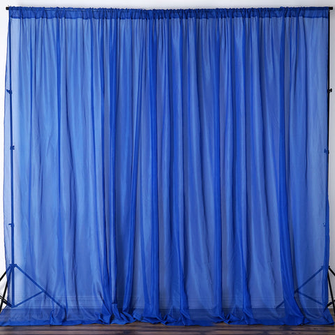 10FT Fire Retardant Royal Blue Sheer Curtain Panel Backdrops Window  Treatment With Rod Pockets   Premium ...