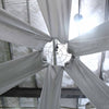 "20Ft Silver Ceiling Drapes Sheer Curtain Panels Fire Retardant Fabric With 4"" Pocket"