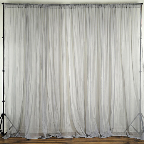 10ft fire retardant silver sheer curtain panel backdrops window treatment with rod pockets premium collection