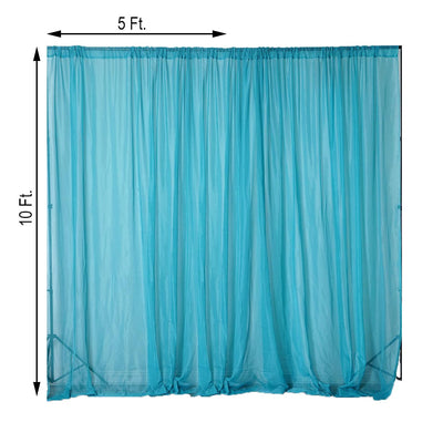 2 Pack | 5FTx10FT Turquoise Fire Retardant Sheer Organza Premium Curtain Panel Backdrops With Rod Pockets