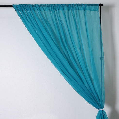 10FT Fire Retardant Turquoise Sheer Curtain Panel Backdrops With Rod Pockets - Premium Collection