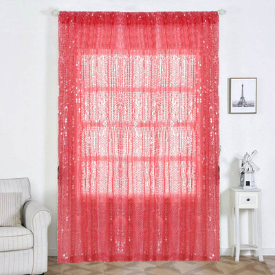 "2 Pack | 52""x108"" Coral Big Payette Sequin Curtains With Rod Pocket Window Treatment Panels"