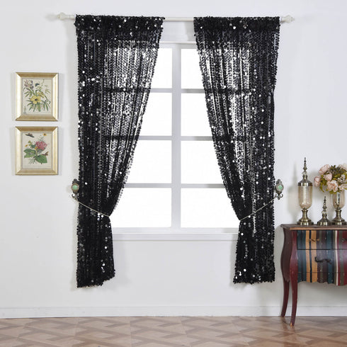 "Big Payette Sequin Curtains 52x108"" Black Pack of 2 Window Treatment Panels With Rod Pockets"