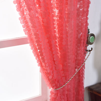 "Big Payette Sequin Curtains 52x64"" Coral Pack of 2 Window Treatment Panels With Rod Pockets"