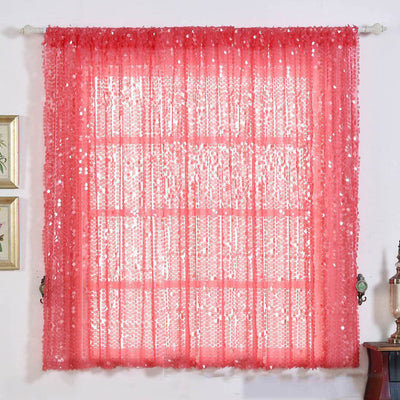 "2 Pack | 52""x64"" Coral Big Payette Sequin Curtains With Rod Pocket Window Treatment Panels"