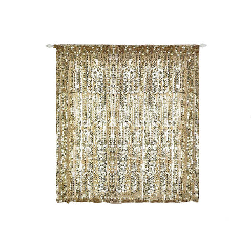 "Pack of 2 - 52""x64"" Champagne Big Payette Sequin Curtains With Rod Pocket Window Treatment Panels"