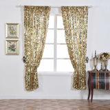 "Big Payette Sequin Curtains 52x64"" Champagne Pack of 2 Window Treatment Panels With Rod Pockets"