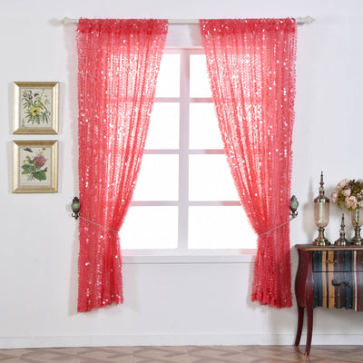 "Big Payette Sequin Curtains 52x84"" Coral Pack of 2 Window Treatment Panels With Rod Pockets"