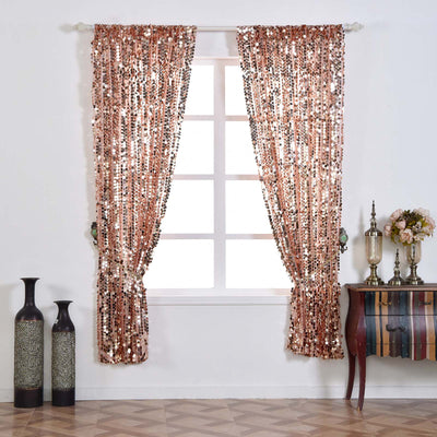 "Big Payette Sequin Curtains 52x84""  Pack of 2 Window Treatment Panels With Rod Pockets- Rose Gold 