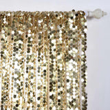 "Big Payette Sequin Curtains 52x84"" Champagne Pack of 2 Window Treatment Panels With Rod Pockets"