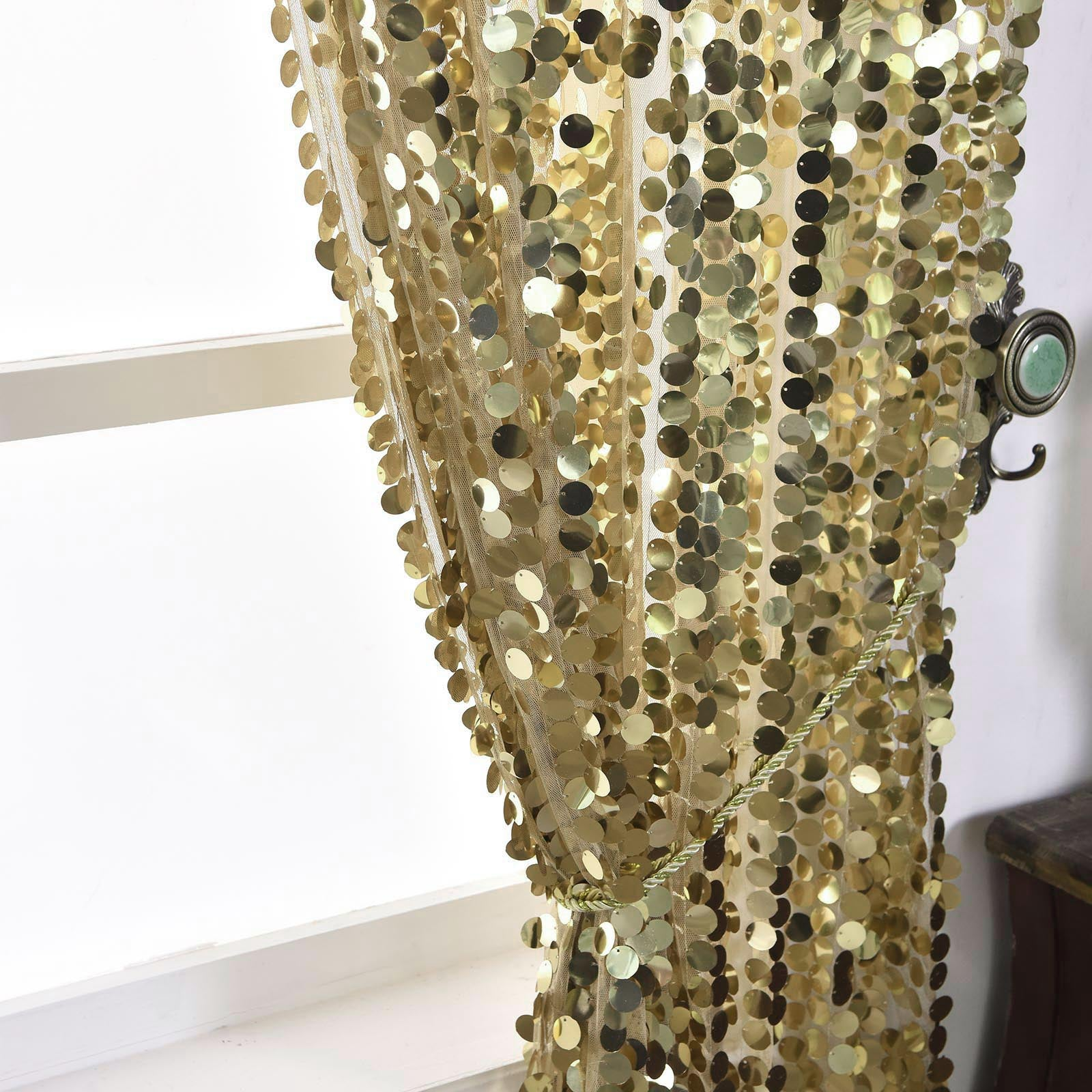 2 Pack 52 Quot X84 Quot Champagne Big Payette Sequin Curtains