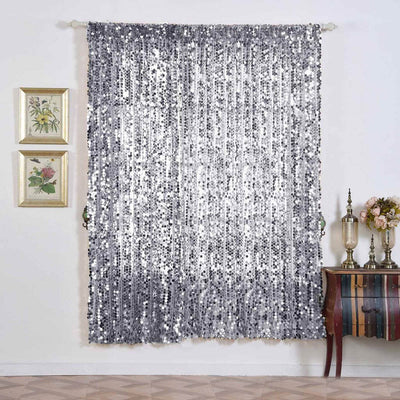 "2 Pack | 52""x84"" Silver Big Payette Sequin Curtains With Rod Pocket Window Treatment Panels"