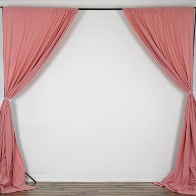 Set Of 2 Rose Quartz Fire Retardant Polyester Curtain Panel Backdrops With Rod Pockets - 5FTx10FT
