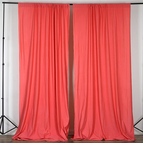 Set Of 2 Coral Fire Retardant Polyester Curtain Panel Backdrops With Rod Pockets - 5FTx10FT