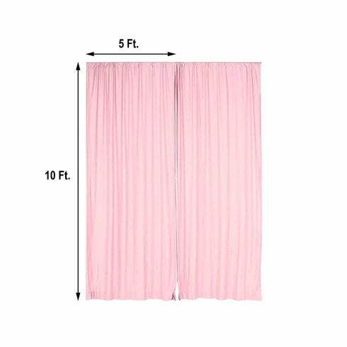 Pack of 2 - 5FTx10FT Blush/Rose Gold Fire Retardant Polyester Curtain Panel Backdrops With Rod Pockets