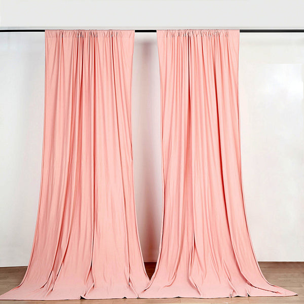 Pack of 2 - 5FTx10FT Dusty Rose Fire Retardant Polyester Curtain Panel Backdrops With Rod Pockets