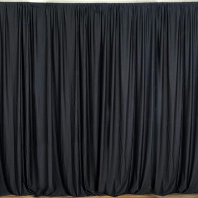 Set Of 2 Black Fire Retardant Polyester Curtain Panel Backdrops With Rod Pockets - 5FTx10FT
