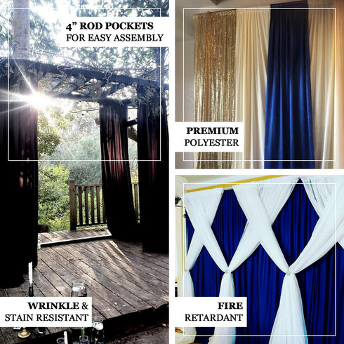 Pack of 2 - 5FTx10FT Gold Fire Retardant Polyester Curtain Panel Backdrops With Rod Pockets