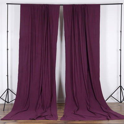 Set Of 2 Eggplant Fire Retardant Polyester Curtain Panel Backdrops With Rod Pockets - 5FTx10FT
